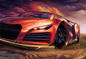 Обои арт, Audi, красный, спортивный, автомобиль, суперкар, тюнинг.