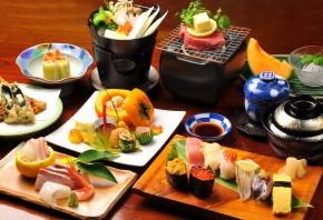 Обои суши, овощи, стол, блюда, морепродукты, ролы