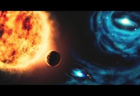Обои космический корабль, солнце, черная дыра, планеты, звезды