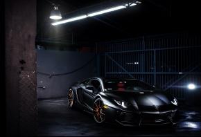 Lamborghini, Aventador, LP700-4, LB834, black, Ламборгини, Ламборджини, Авентадор, чёрная, лампа, блики