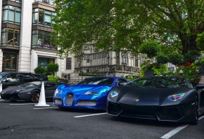Black, matte, Aventador, x2, Chrome, Blue, Bugatti, Veyron, London, �����������, ���������, ��������, �������, ������, ��������, �������