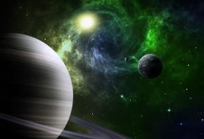 Обои планеты, солнце, кольца, звезды, туманность