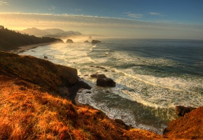 Обои океан, побережье, горы, пейзаж скалы, шторм, горизонт