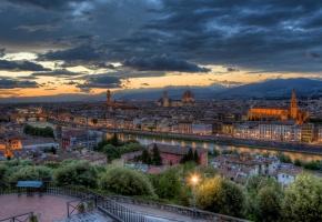 Италия, панорама, дома, огни, флоренция, река, вечер, закат