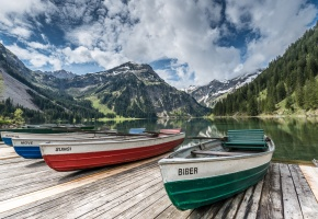 Тироль, Австрия, озеро, горы, пристань, лодки