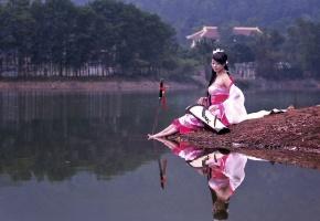 китаянка, меч, озеро, музыка, наряд