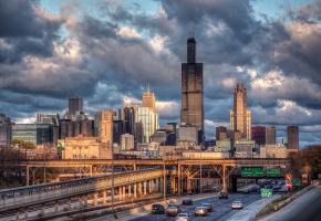 США, Чикаго, Иллинойс, город, небоскребы, дорога