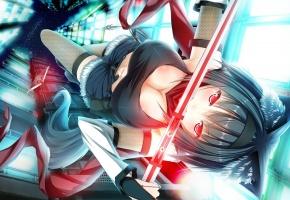 девушка, меч, ниндзя, падения, оружие, уши