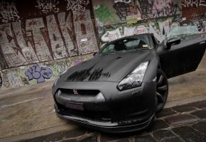nissan, gt-r, black, мокрая, передок, граффити