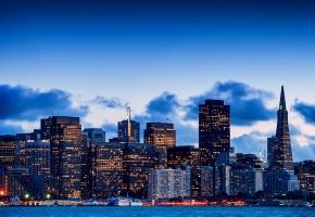 Обои san francisco, california, usa, сан-франциско, калифорния, сша, залив, вечер, город, небо, небоскребы, здания, дома