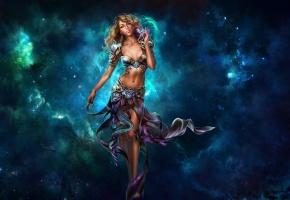 космос, абстракция, платье, девушка, звезды