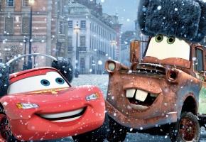 молния маквин, метр, шапка, снег, машины, город