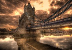 мост, замок, закат, река, небо, дома