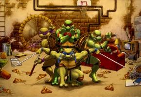 Обои Mutant Ninja Turtles, черепашки ниндзя, Леонардо, Рафаэль, Микеланджело, Донателло
