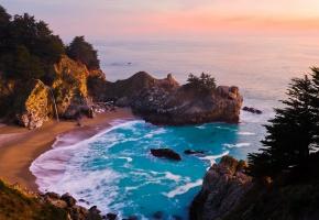 залив, берег, горы, деревья, море, голубое