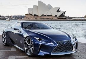 Lexus, LF-LC, Blue, Concept, Лексус, ЛФ-ЛЦ, синий, концепт, передок, Сиднейский оперный театр, Sydney Opera House, небо