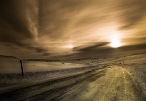 дорога, зима, снег, закат, горизонт