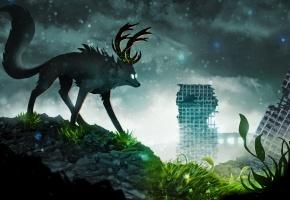 Обои руины, животное, рога, листья, здания