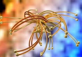 графика, золото, блики, 3Д, фигура