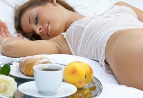 девушка, утро, пастель, завтрак, личико