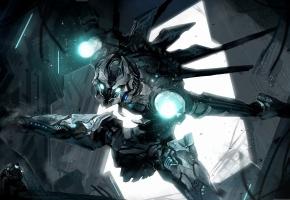 робот, глаза, свет, огни, руки, ноги, железный