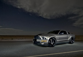 Обои mustang, shelb, gt500, silvery, muscle car, форд, мустанг, шелби, серебристый, мускул кар, ночь