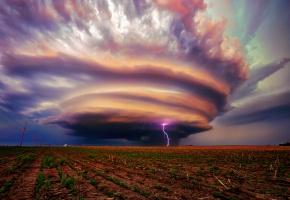 Обои США, Небраска, шторм, тучи, молнии, гроза, поле