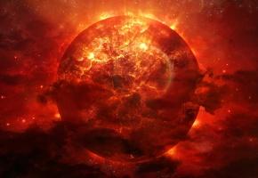 Обои планета, космос, звезды, огонь, взрыв, красная