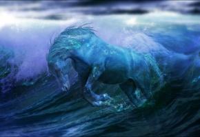 лошадь, вода, океан, фантастика, волны