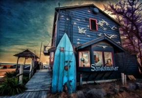 пейзаж, дом, магазин, доска для серфинга, набережная