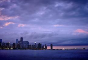 Обои Chicago, чикаго, америка, сша, небоскребы, вечер, огни