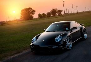 Porsche, 911, Turbo, 997, black, front, порше, чёрный, солнце, газон, блик