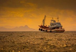 море, корабль, пейзаж, закат, солнышко