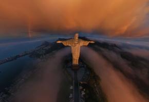 Рио-де-Жанейро, Rio de Janeiro, город, Статуя Христа Искупителя, Cristo Redentor, радуга, облака, восход