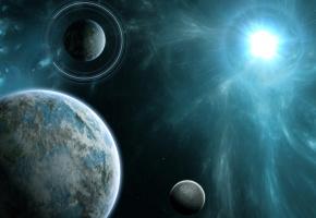 Обои планеты, звезда, космос, кольца, энергия