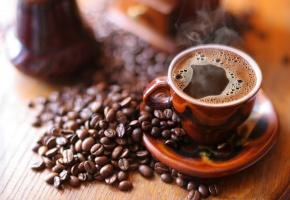 чашка, кофе, пенка, зерна, блюдце, напиток, горячий