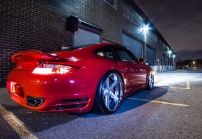 Обои Porsche, 911, Turbo, Tuning, Red, Rims, Wheels, Night, Lights, Glow, Garage