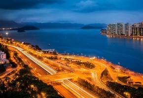Сатхинь, Hong Kong, Гонконг, огни, дороги, деревья, море, гавань, небоскребы, небо, вечер