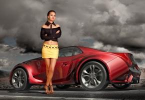Красивая девушка, Брюнетка, стоит рядом с красным авто, на дороге, смотрит в камеру