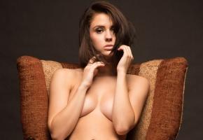 Anna Cash, девушки, модель, грудь, сидит, кресло