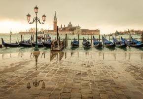 Обои италия, венеция, Venice, italy, лодки, пристань, лужи