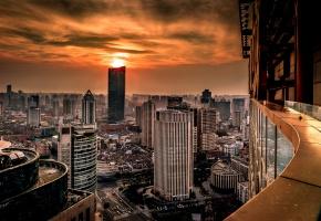 Хуанпу, Шанхай, Китай, закат, здания, панорама