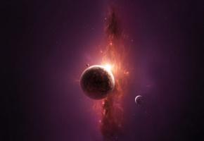Обои space, planet, планета, звезды, солнце, туманность