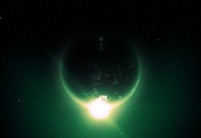 солнце, пустота, звезды, планета, лучи