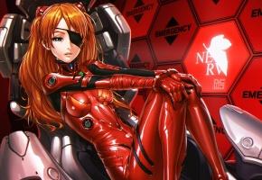 Обои девушка, в красном, костюм, повязка, кресло, сидит