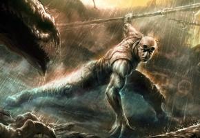 Обои Riddick, оружие, дождь, твари, схватка