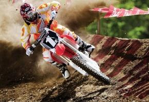 Мотокросс, мотоцикл, гонка, кросс, мотоциклист, гонщик, поворот, земля, грунт