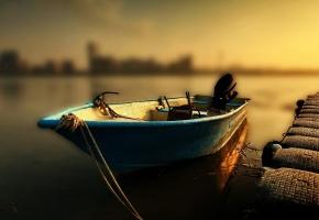 Обои лодка, причал, пирс, закат, моторка