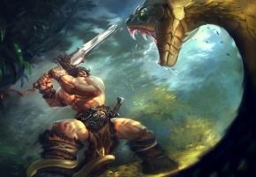 Обои конан варвар, двуручный, меч, джунгли, огромная, змея, схватка