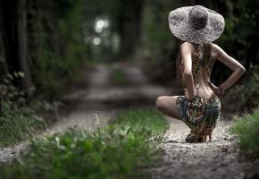 девушка, шляпка, дорога, спина, платье
